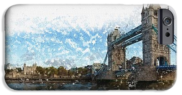 Tree Art Print iPhone Cases - The River Thames iPhone Case by Don Kuing
