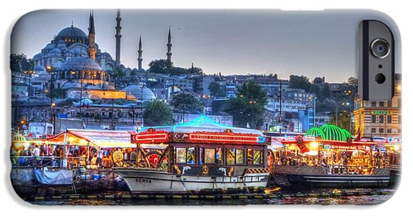Evening iPhone Cases - The Riverboats of Istanbul iPhone Case by Michael Garyet