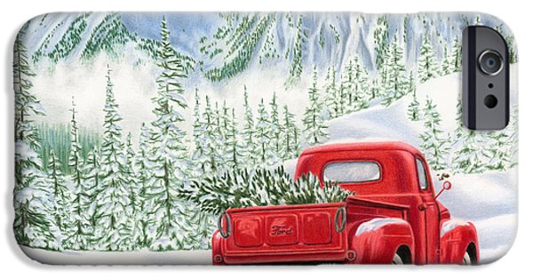 Snow-covered Landscape Drawings iPhone Cases - The Road Home iPhone Case by Sarah Batalka