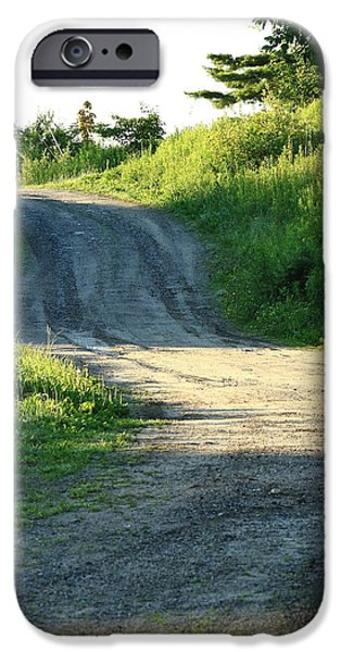 Rural Maine Roads iPhone Cases - The Road Less Taken iPhone Case by Laurie Breton