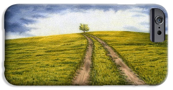 Meadow Drawings iPhone Cases - The Road Less Traveled iPhone Case by Sarah Batalka
