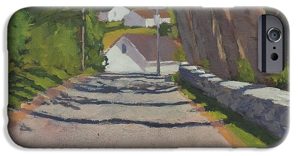 Maine Roads Paintings iPhone Cases - The Road to Mackerel Cove iPhone Case by Bill Tomsa