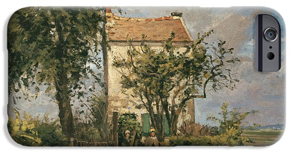 Camille Pissarro iPhone Cases - The Road to Rueil iPhone Case by Camille Pissarro