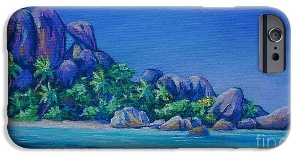 Mountain Pastels iPhone Cases - The Rocks on La Digue  Panoramic iPhone Case by John Clark