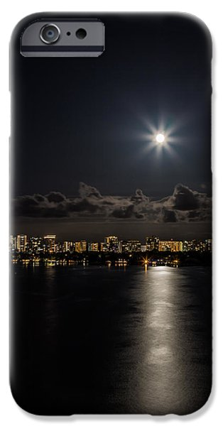 Skylines Pyrography iPhone Cases - The full moon over the bay iPhone Case by Satoshi Kina