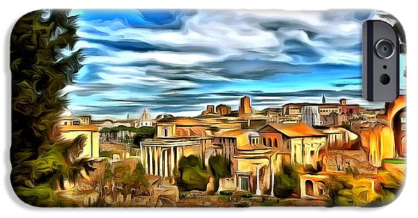 Ruin iPhone Cases - The ruins of Rome iPhone Case by Jean-Marc Lacombe
