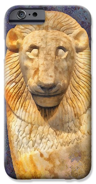 Statue Portrait iPhone Cases - The Sacred Gate Lion iPhone Case by Grigorios Moraitis