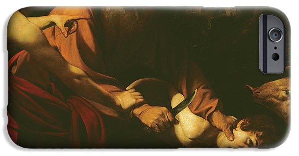 Michelangelo iPhone Cases - The Sacrifice of Isaac iPhone Case by Caravaggio