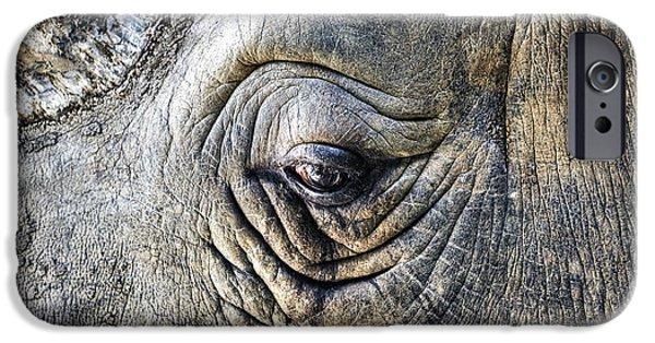 Rhino iPhone Cases - The sad eye of a rhino iPhone Case by Joana Kruse