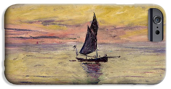 Sailing Paintings iPhone Cases - The Sailing Boat Evening Effect iPhone Case by Claude Monet