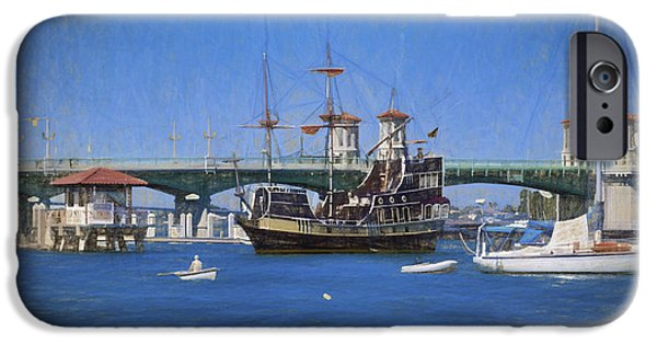 Recently Sold -  - Sailboat iPhone Cases - The Saint Augustine Harbor in Pastels iPhone Case by C W Hooper