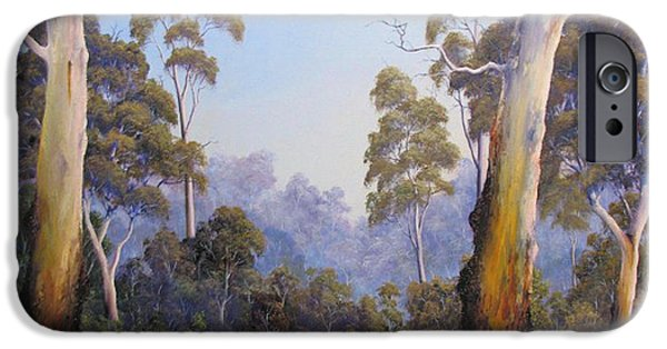 Landscapes Reliefs iPhone Cases - The Scent Of Australian Gumtrees iPhone Case by John Cocoris