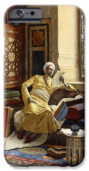 Persian Carpet iPhone Cases - The Scholar iPhone Case by Ludwig Deutsch