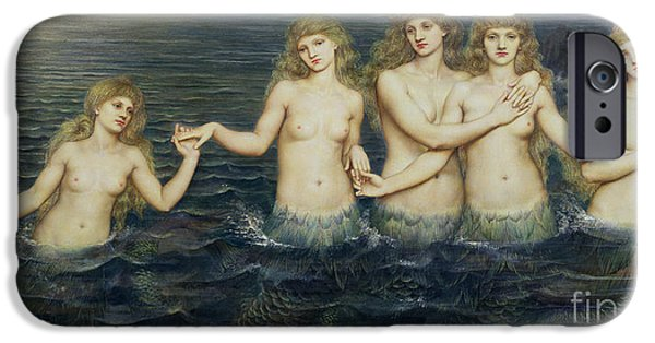 Pre-raphaelites iPhone Cases - The Sea Maidens iPhone Case by Evelyn De Morgan