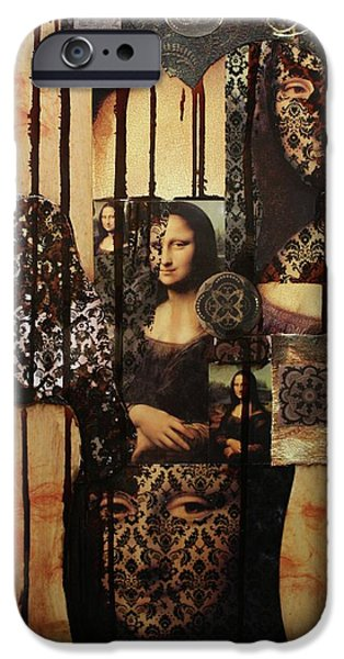 Michael Mixed Media iPhone Cases - The Secrets Of Mona Lisa iPhone Case by Michael Kulick