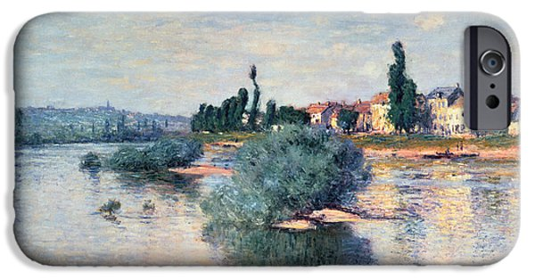 River iPhone Cases - The Seine at Lavacourt iPhone Case by Claude Monet