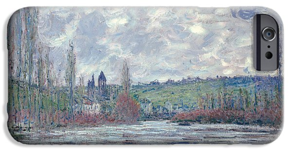 Flooding iPhone Cases - The Seine in Flood at Vetheuil iPhone Case by Claude Monet