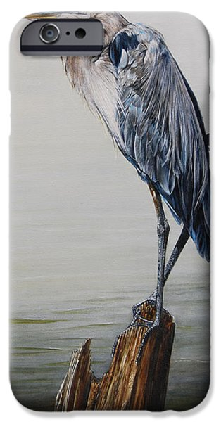 Heron Paintings iPhone Cases - The Sentinel - Portrait of a Great Blue Heron iPhone Case by Rob Dreyer AFC