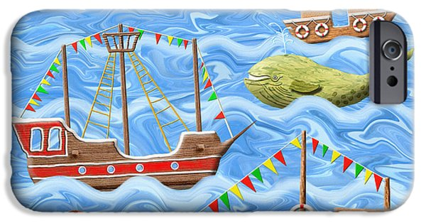 Toy Boat Digital Art iPhone Cases - The Seven Seas iPhone Case by Grigorios Moraitis