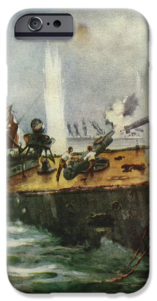 Shark Drawings iPhone Cases - The Shark firing her last torpedo in the Battle of Jutland  iPhone Case by Niday Picture Library