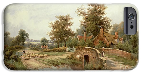 Agricultural Paintings iPhone Cases - The Sheep Drover iPhone Case by Thomas Octavius Clark