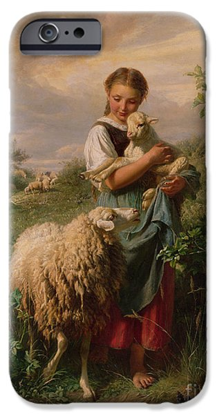 Portrait Paintings iPhone Cases - The Shepherdess iPhone Case by Johann Baptist Hofner