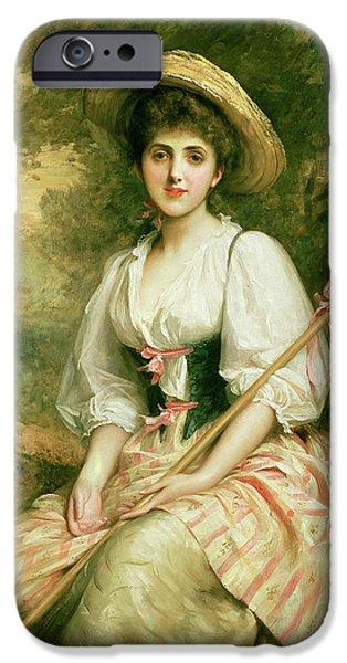 Sheep Paintings iPhone Cases - The Shepherdess iPhone Case by Sir Samuel Luke Fildes