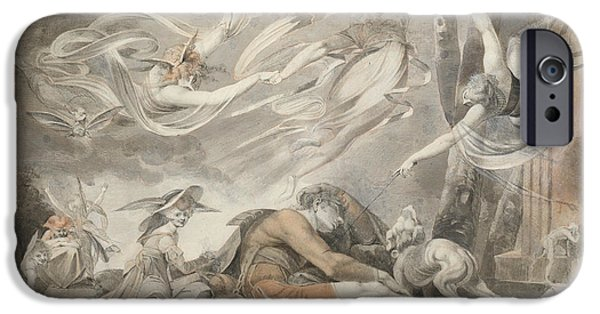 Swiss Drawings iPhone Cases - The Shepherds Dream iPhone Case by Henry Fuseli