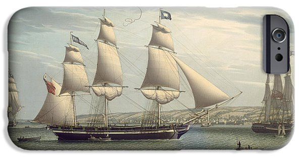 Pirate Ship iPhone Cases - The Ship -favorite-Maneuvering Off Greenock iPhone Case by Robert Salmon