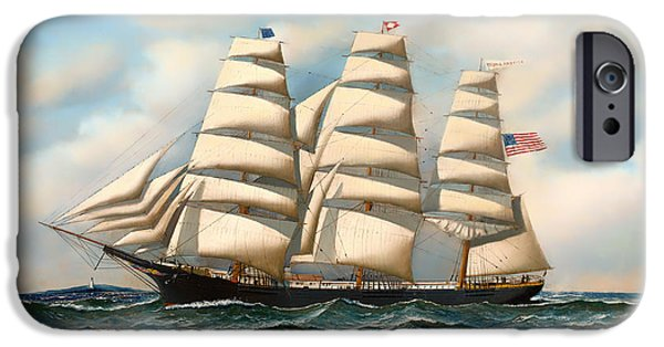 Water Vessels Paintings iPhone Cases - The Ship Young American at Sea iPhone Case by Antonio Jacobsen