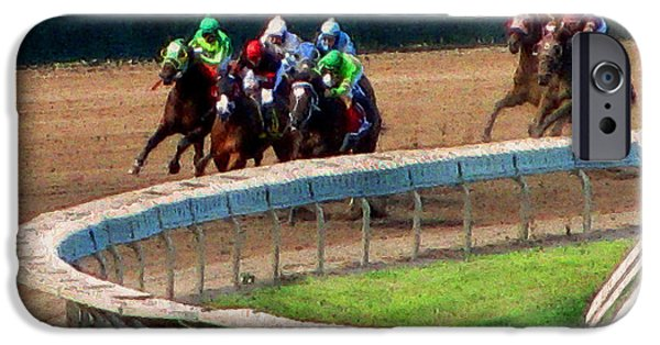 Horse Racing Mixed Media iPhone Cases - The Shores Greatest Stretch iPhone Case by Colleen Kammerer