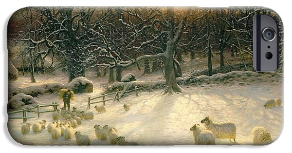 Snow iPhone Cases - The Shortening Winters Day is Near a Close iPhone Case by Joseph Farquharson