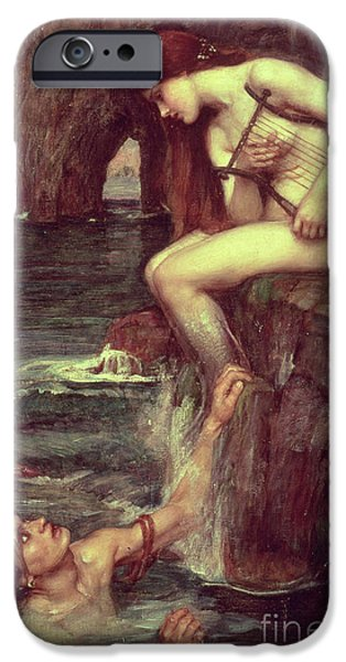 Pre-raphaelites iPhone Cases - The Siren iPhone Case by John William Waterhouse