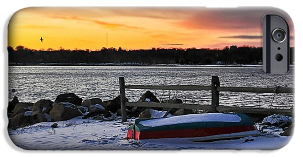 Snowscape iPhone Cases - The Snow Boat iPhone Case by Diana Angstadt
