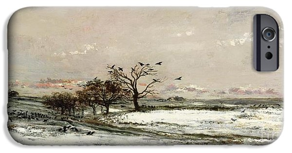 Rural Landscapes iPhone Cases - The Snow iPhone Case by Charles Francois Daubigny