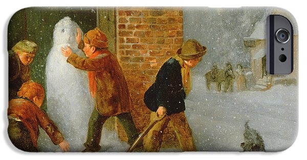 Snowy Weather iPhone Cases - The Snowman iPhone Case by Edward Charles Barnes