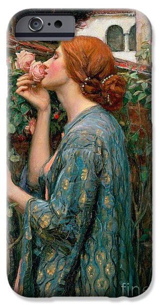 Pre-raphaelites iPhone Cases - The Soul of the Rose iPhone Case by John William Waterhouse