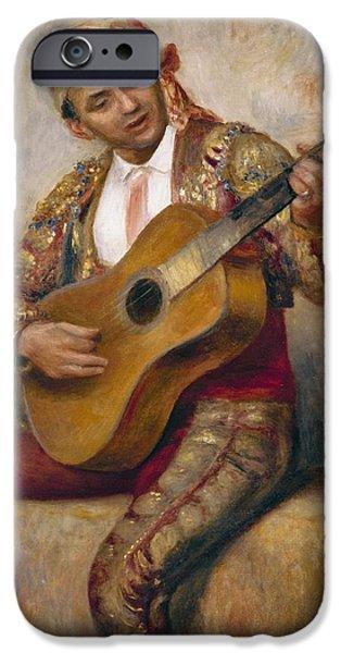 Renoir iPhone Cases - The Spanish Guitarist iPhone Case by Pierre Auguste Renoir