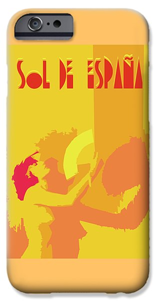 Abstract Digital Drawings iPhone Cases - The Spanish sun  iPhone Case by Joaquin Abella