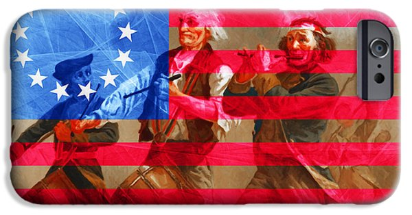4th July Digital iPhone Cases - The Spirit of 76 And The American Flag 20150704 iPhone Case by Wingsdomain Art and Photography