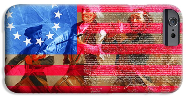 4th July Digital iPhone Cases - The Spirit of 76 The American Flag And The Declaration Of Independence 20150704 iPhone Case by Wingsdomain Art and Photography