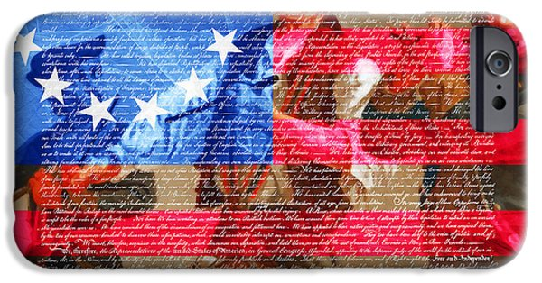 4th July iPhone Cases - The Spirit of 76 The American Flag And The Declaration Of Independence 20150704square iPhone Case by Wingsdomain Art and Photography