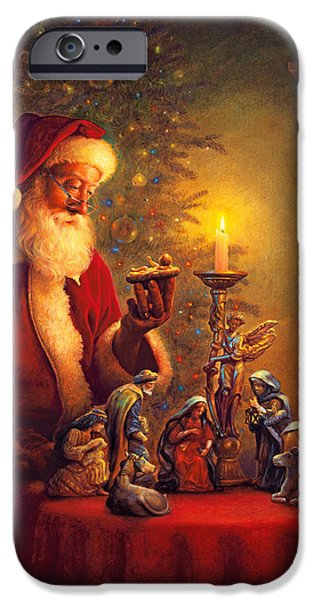 Beard iPhone Cases - The Spirit of Christmas iPhone Case by Greg Olsen