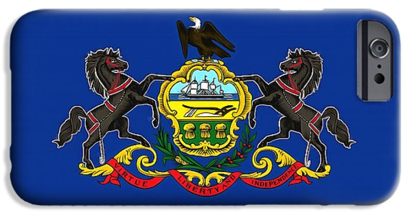 Quaker Paintings iPhone Cases - The State Flag of Pennsylvania iPhone Case by Floyd Snyder
