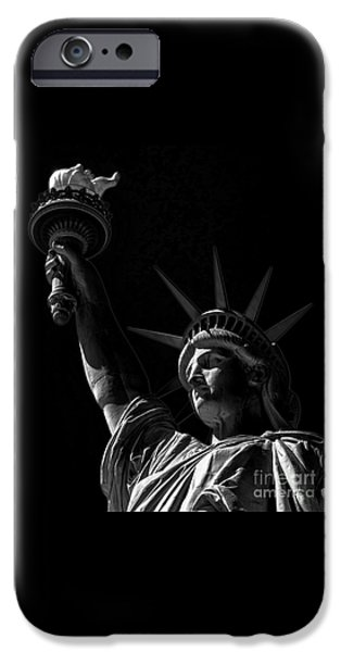 American Independance iPhone Cases - The Statue of Liberty - BW iPhone Case by James Aiken