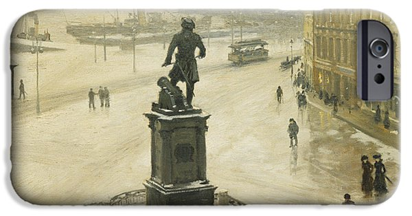 Fischer Boat iPhone Cases - The Statue of Tordenskiold Facing Piperviken iPhone Case by Paul Fischer