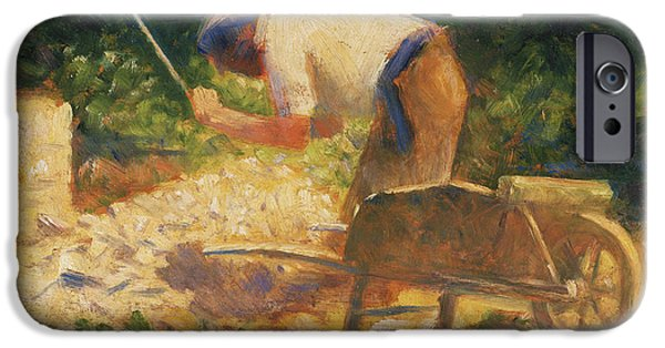 Seurat iPhone Cases - The Stone Breaker iPhone Case by Georges-Pierre Seurat