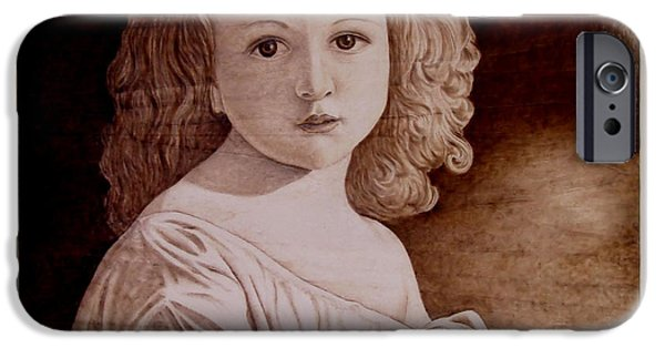 Little Girl Pyrography iPhone Cases - The Story iPhone Case by Jo Schwartz