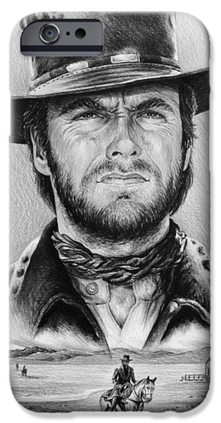 Movie Star Drawings iPhone Cases - The Stranger bw 2 version iPhone Case by Andrew Read