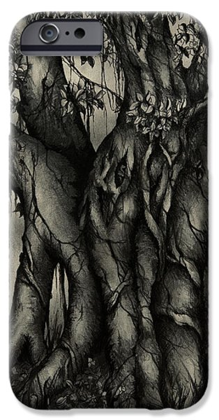 Mist Drawings iPhone Cases - The Strangler iPhone Case by Rachel Christine Nowicki